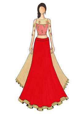 An Elegant Red Umbrella Lehanga with Beige and Pink Cold Shoulder Embroidered Top