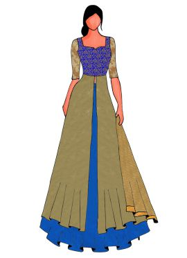 An Elegant Royal Blue Long Choli Lehanga
