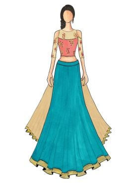 An Elegant Turquoise Umbrella Lehanga with Beige and Pink Cold Shoulder Embroidered Top