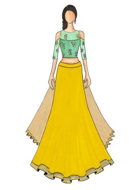 An Elegant Yellow Umbrella Lehanga with Mint Green Cold Shoulder Embroidered Top