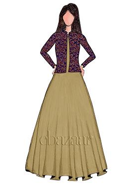 Antique Gold Taffeta Silk Gown