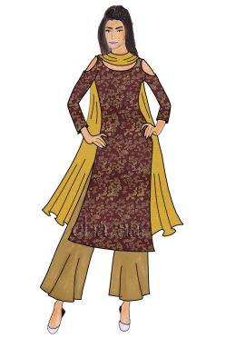 Antique Gold Taffeta Silk Palazzo Suit