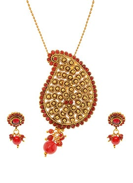 Antique Plated Gold N Red Stone Pendant Set