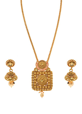 Antique Plated Golden Colored Pendant Set