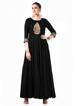 Anushree Agarwal Black Muslin Silk Anarkali Suit