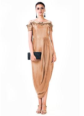 Anushree Agarwal Brown Satin Net Anarkali Gown