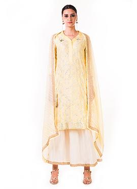 Anushree Agarwal Cream Chanderi Silk Palazzo Suit