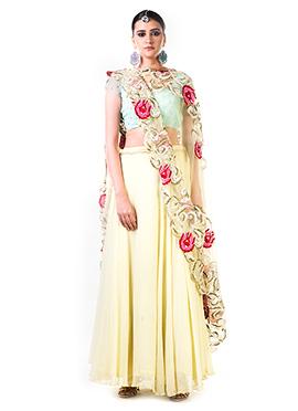 Anushree Agarwal Cream Chiffon A Line Lehenga
