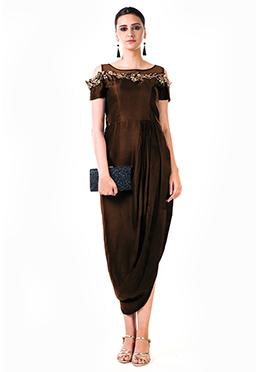Anushree Agarwal Dark Brown Satin Anarkali Gown