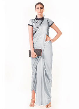 Anushree Agarwal Grey Art Silk Indowestern Saree