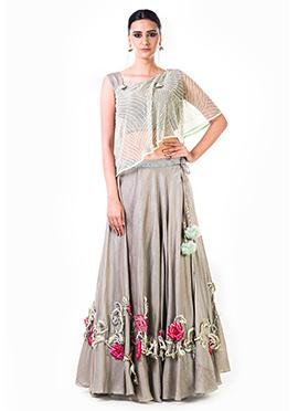 Anushree Agarwal Grey Art Silk Umbrella Lehenga
