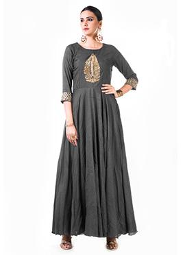 Anushree Agarwal Grey Muslin Silk Anarkali Suit