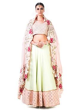 Anushree Agarwal Light Green Art Silk A Line Lehen