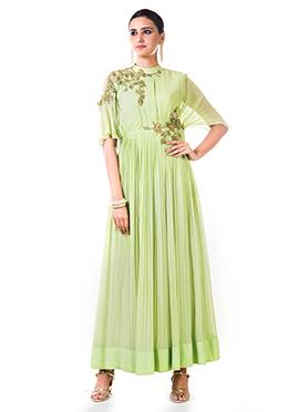 Anushree Agarwal Light Green Georgette Anarkali Suit