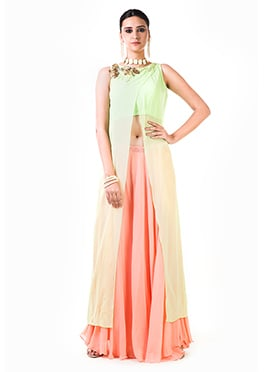 Anushree Agarwal Light Green N peach Skirt Set