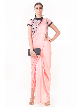 Anushree Agarwal Light Pink Art Silk Indowestern Saree