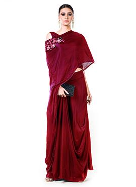 Anushree Agarwal Maroon Skirt Set