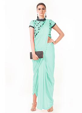 Anushree Agarwal Mint Green Art Silk Indowestern Saree