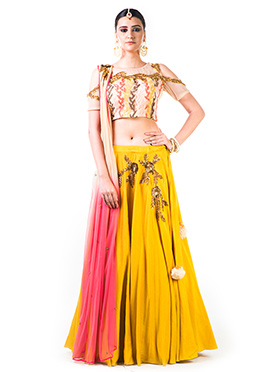 Anushree Agarwal Mustard Yellow Umbrella Lehenga