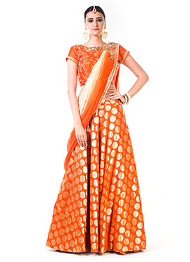 Anushree Agarwal Orange Art Silk Umbrella Lehenga