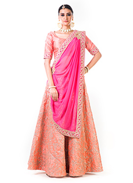 Anushree Agarwal Peach Art Silk Umbrella Lehenga