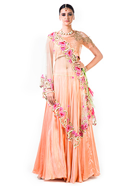 Anushree Agarwal Peach Satin Umbrella Lehenga
