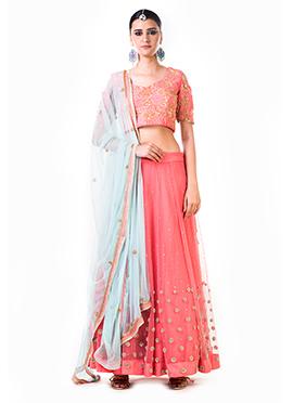 Anushree Agarwal Pink Net A Line Lehenga