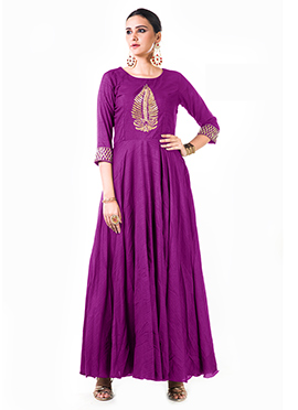 Anushree Agarwal Purple Muslin Silk Anarkali Suit