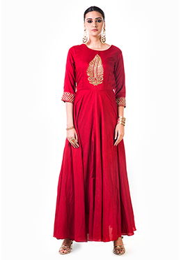 Anushree Agarwal Red Muslin Silk Anarkali Suit