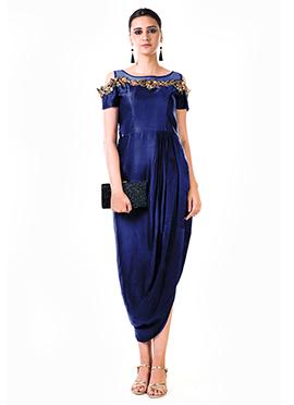 Anushree Agarwal Royal Blue Satin Anarkali Gown