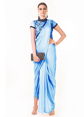 Anushree Agarwal Sky Blue Art Silk Indowestern Saree