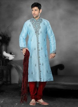 Appealing Turquoise Silk Kurta Pyjama