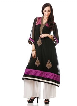 Applique Worked Georgette Plus Size Kurti