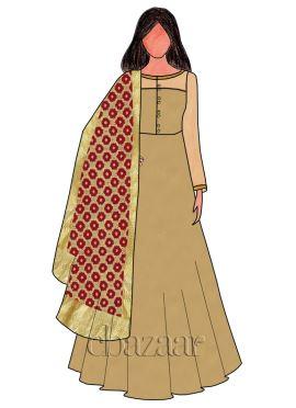 Apricot Cream Taffeta Abaya Style Anarkali Suit