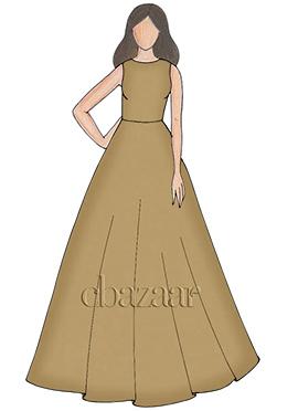 Apricot Cream Taffeta Ball Gown