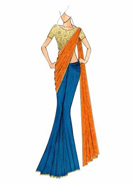Aqua Blue And Orange Half N Half Saree