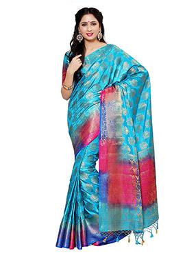 Aqua Blue Art Kancheepuram Silk Saree