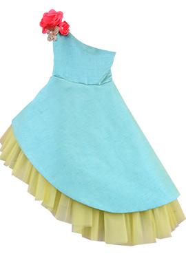 Fayon Aqua Blue Art Raw Silk Asymmetric Kids Dress