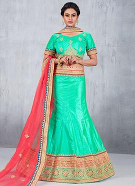 Turquoise Green Art Silk A Line Lehenga