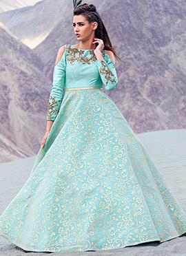 Aqua Blue Art Silk Cold Shoulder Ball Gown