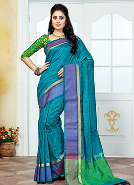 Aqua Blue Art Silk Saree
