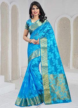 Aqua Blue Art Silk Saree