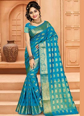 Aqua Blue Art Tussar Silk Saree
