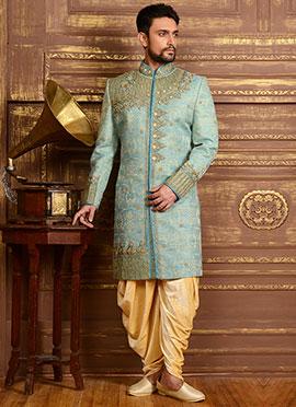 Aqua Blue Benarasi Silk Dhoti Style Classic Sherwani