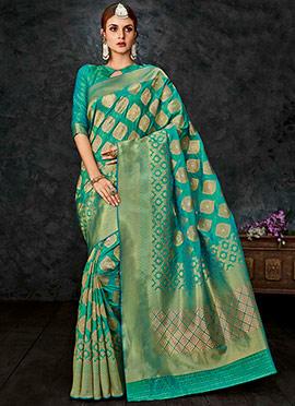 Aqua Blue Benarasi Silk Saree