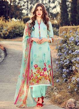 Aqua Blue Blended Cotton Palazzo Suit