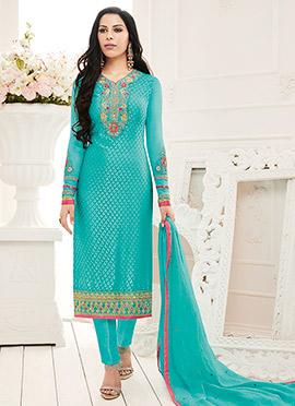 Aqua Blue Brasso Straight Suit