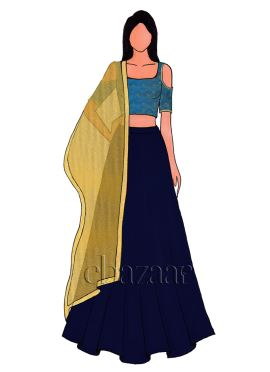 Aqua Blue Cold Shoulder Paper Silk Lehenga