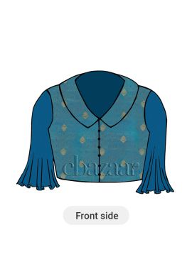 Aqua Blue Collared Blouse Flared Sleeves