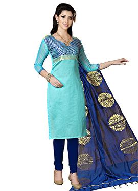 Aqua Blue Cotton Churidar Suit